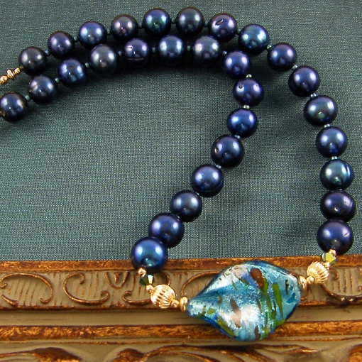 Blue Pearls with Venetian Glass